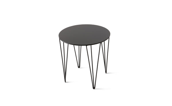 ATIPICO JET BLACK SMALL ROUND METAL SIDE TABLE