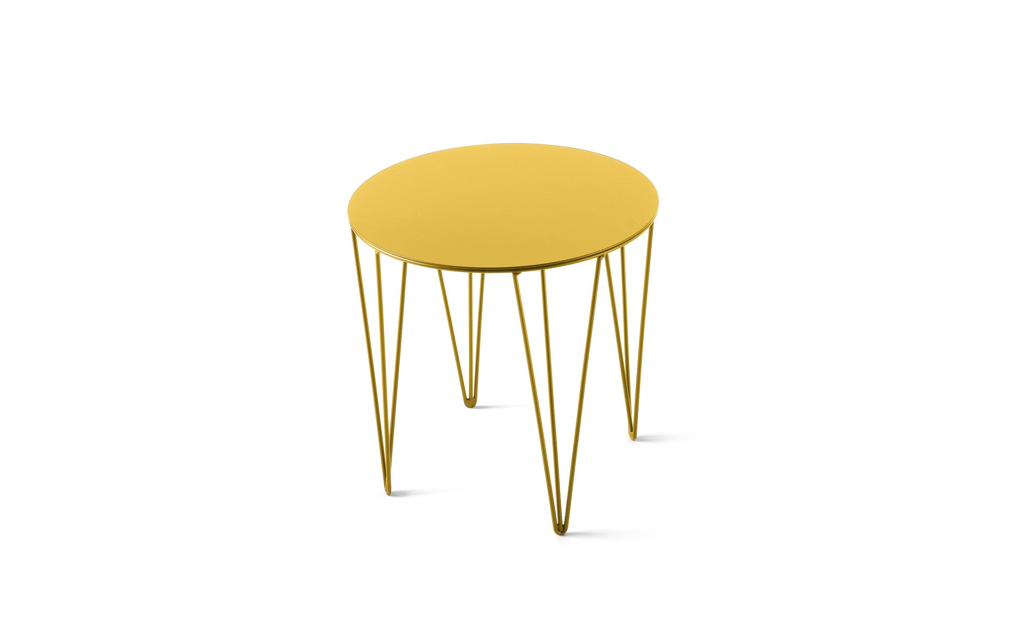 ATIPICO TRAFFIC YELLOW SMALL ROUND METAL SIDE TABLE