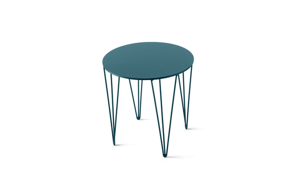 ATIPICO TURQUOISE BLUE SMALL ROUND METAL SIDE TABLE