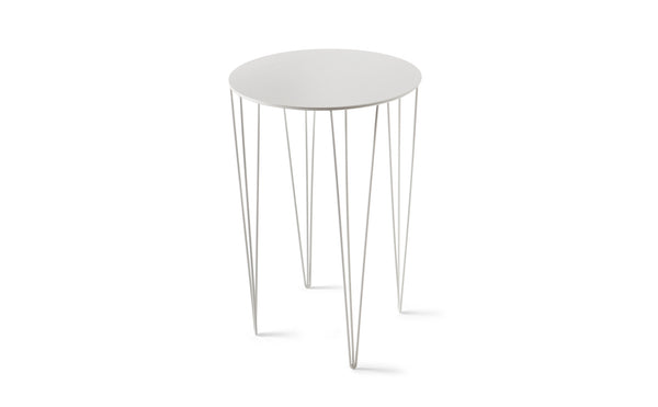 ATIPICO SIGNAL WHITE TALL ROUND METAL SIDE TABLE