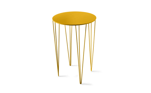 ATIPICO TRAFFIC YELLOW TALL ROUND METAL SIDE TABLE