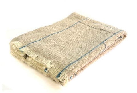 APT MERINO WOOL THROW - BLUE
