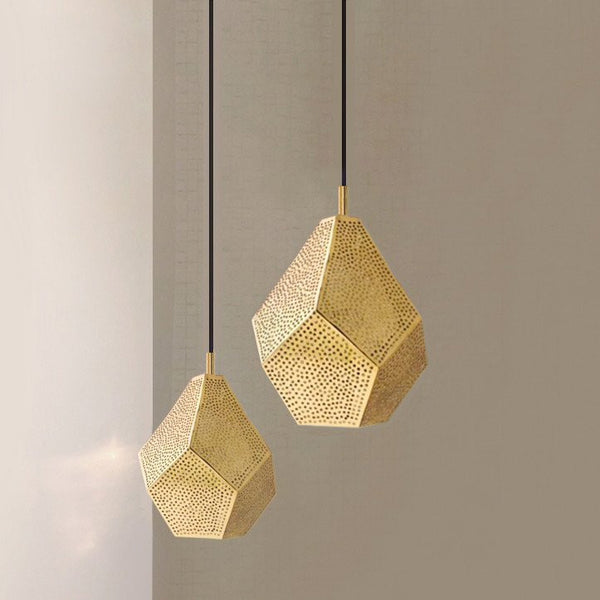 ALMAS BRASS MOROCCAN HANGING LIGHT FIXTURE