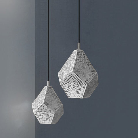 This stunning, handmade silver pendant light combines modern geometry wi... click for more information