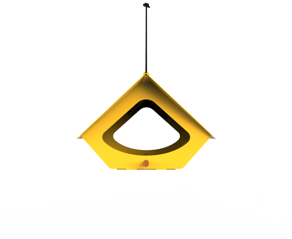 BEEKMAN YELLOW MODERN METAL BIRD FEEDER