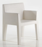 WHITE JUT DINING ARMCHAIR