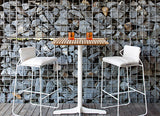 CERU BAR TABLE - WHITE & TEAK