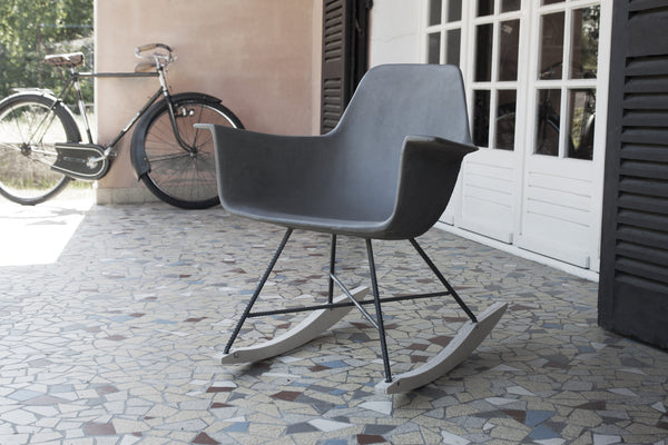 HAUTEVILLE MODERN CONCRETE, METAL & PLYWOOD ROCKING CHAIR