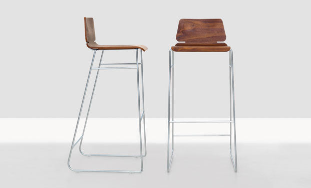 WALNUT & CHROME FORM BAR STOOL