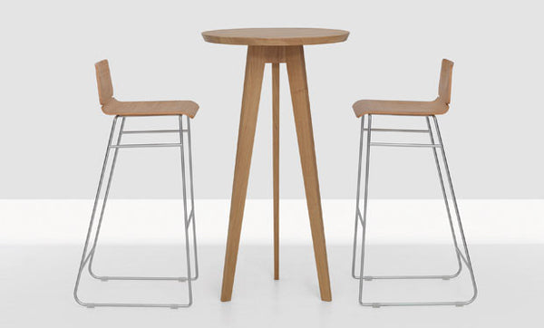 OAK & CHROME FORM BAR STOOL