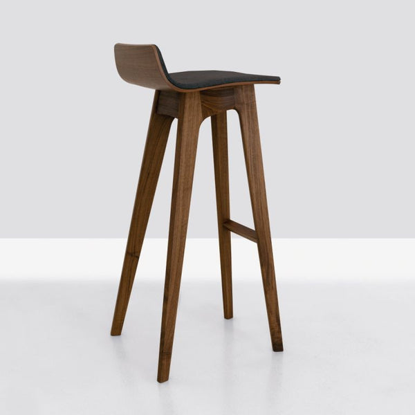 WALNUT MORPH BAR STOOL WITH LEATHER PAD