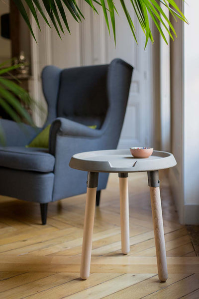 MODERN CONCRETE & WOOD MIX END TABLE