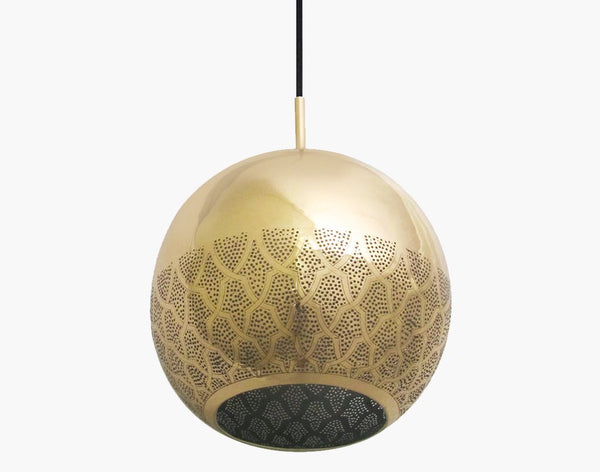 NUR REVERSED BRASS MOROCCAN GLOBE PENDANT LIGHT