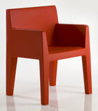 RED COLOR SAMPLE ON JUT DINNING ARMCHAIR