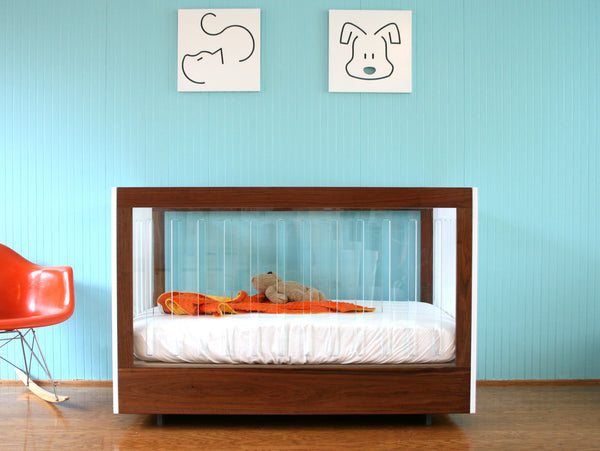 WALNUT AND LUCITE ROH CRIB