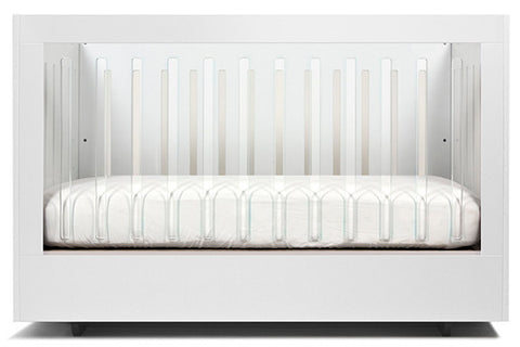 WHITE AND LUCITE ROH CRIB