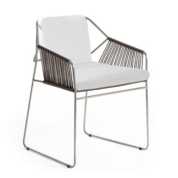 SANDUR ARMCHAIR - STAINLESS STEEL W/ TAUPE ROPE