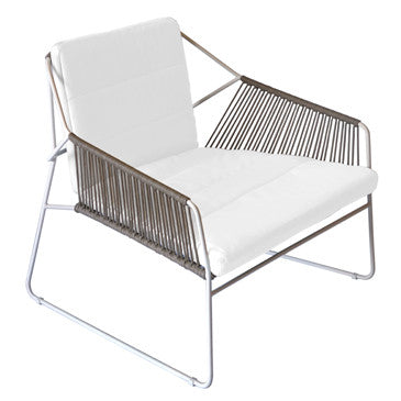 SANDUR LOUNGE CHAIR - STAINLESS STEEL W/ TAUPE ROPE