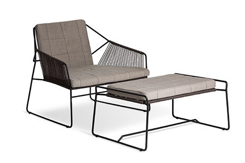 SANDUR LOUNGE CHAIR - ANTHRACITE WITH TAUPE ROPE