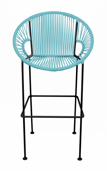 LIGHT BLUE PUERTO STOOL - BLACK FRAME