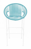 LIGHT BLUE PUERTO STOOL - WHITE FRAME