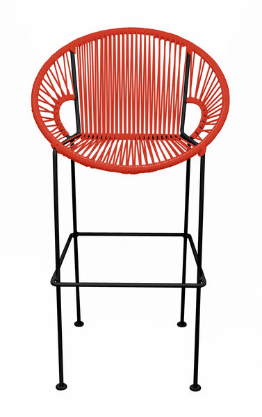 RED PUERTO STOOL - BLACK FRAME