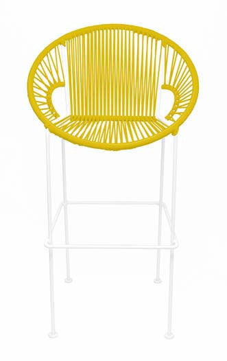 YELLOW PUERTO STOOL - WHITE FRAME
