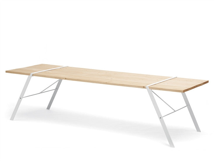 MODERN WHITE METAL & WOOD OUTDOOR DINING TABLE