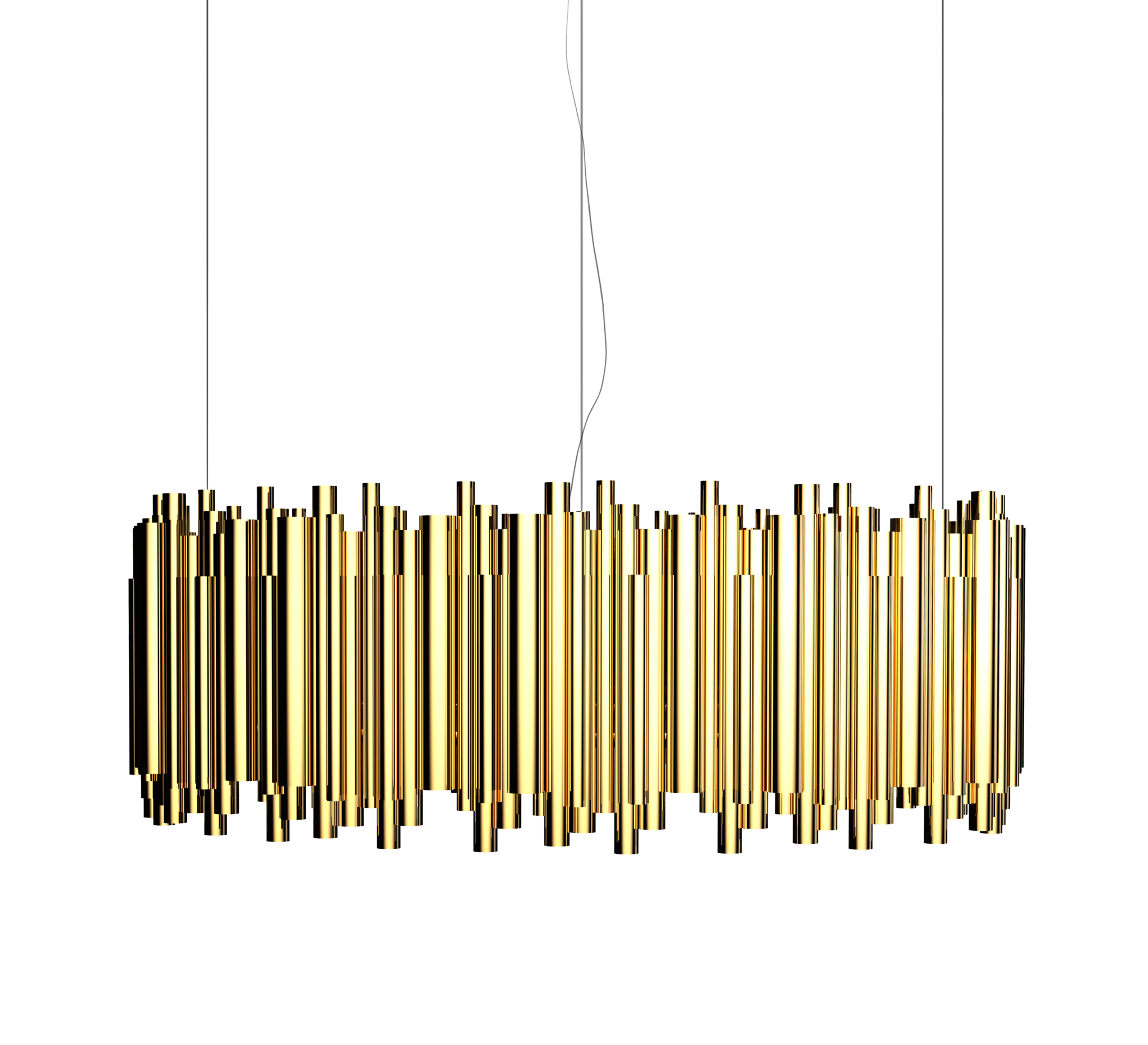 BRUBECK RECTANGULAR SHINY BRASS CHANDELIER