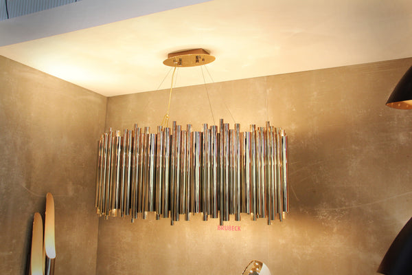 BRUBECK OVAL SHINY BRASS CHANDELIER