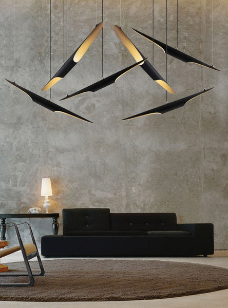 COLTRANE MATTE BLACK & GOLD METAL MODERN PENDANT LIGHT