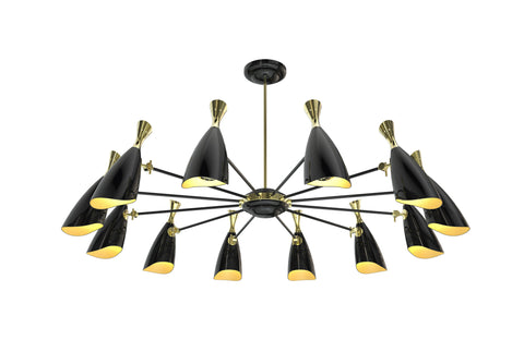 DUKE 12 CHANDELIER - GLOSSY BLACK & GOLD