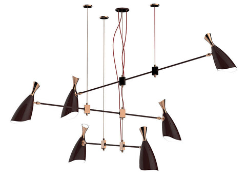 DUKE 6 CHANDELIER - GLOSSY BLACK & GOLD