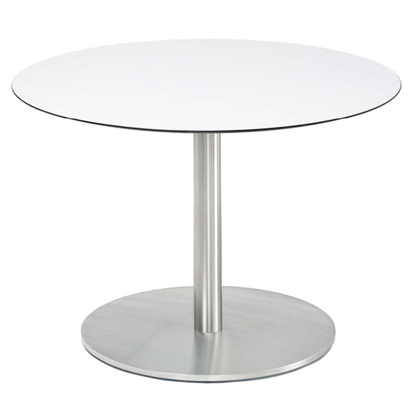 RONDA SINGLE PEDESTAL ROUND  TABLE-WHITE RESIN