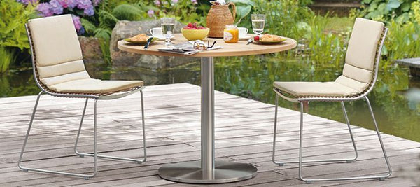 RONDA SINGLE PEDESTAL ROUND  TABLE-TEAK