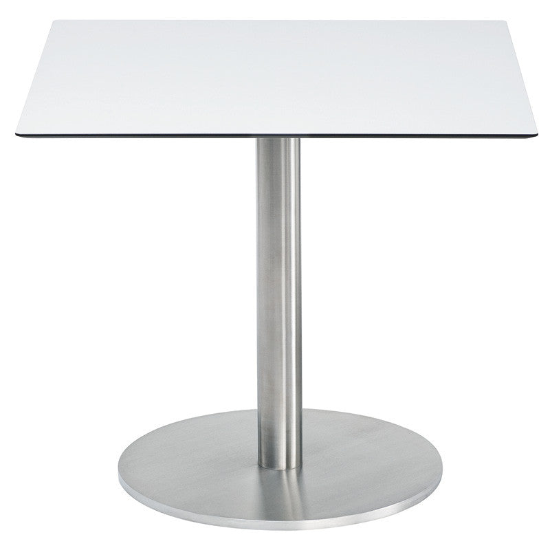 RONDA SINGLE PEDESTAL SQUARE DINING TABLE-WHITE RESIN