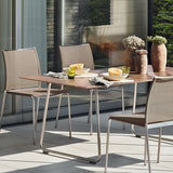 RONDA CURVED FRAME DINING TABLE-GREY/BROWN PATINA RESIN