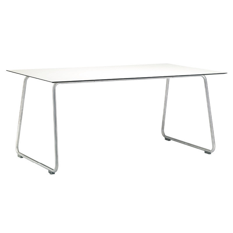 RONDA CURVED FRAME DINING TABLE-WHITE RESIN