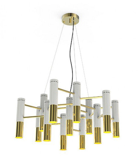 IKE MODERN WHITE & GOLD METAL CHANDELIER