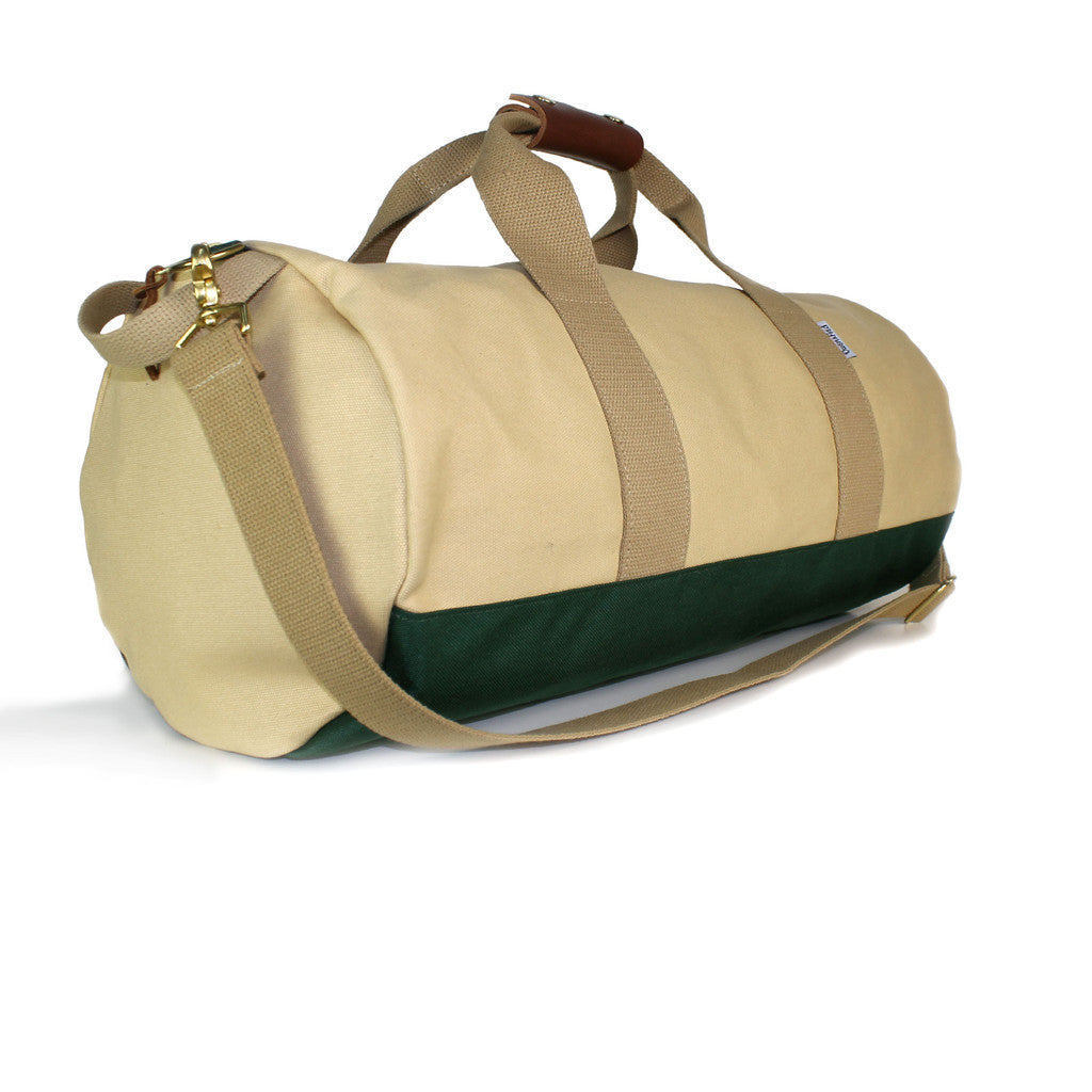 owen & fred khaki canvas duffel bag