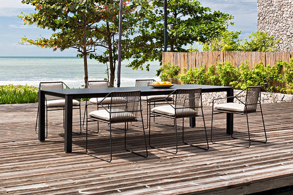 BLACK & ANTHRACITE MACHAR DINING TABLE W/ SANDUR CHAIRS