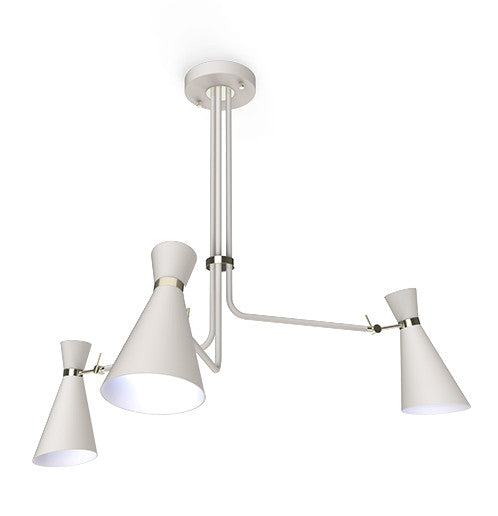 SIMONE MODERN METAL CHANDELIER WHITE & NICKLE