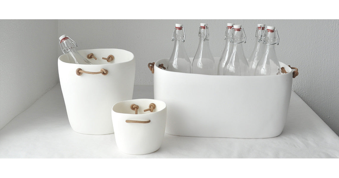 MODERN WHITE RESIN ICE & CHAMPAGNE BUCKETS