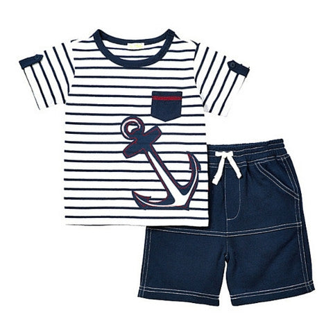 Le Top Boys La Mer Stripe Anchor Shirt and French Terry Short