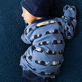 Baby Boy L'ovedbaby Navy Snails' Li'l Critters Organic Cotton Gl'oved Sleeve Overall