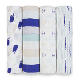 aden + anais High Seas 4 Pack Classic Swaddles - Whales, Blue Stripes, Anchors and Waves