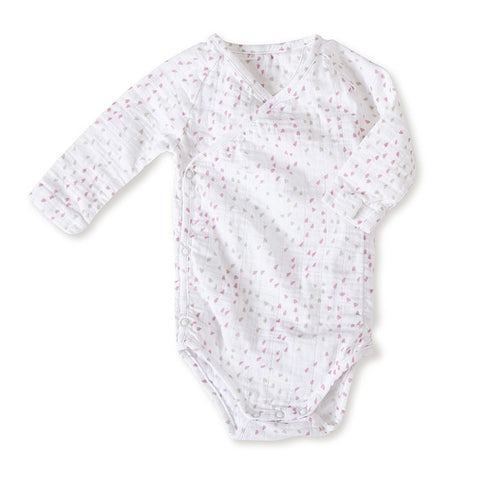 aden + anais Lovely Mini Hearts Long Sleeve Kimono Body Suite with bottom snaps