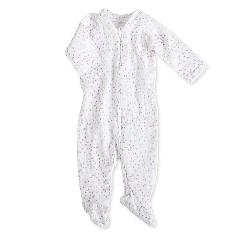 aden + anais Lovely Mini Hearts Long Sleeve Zipper Footie