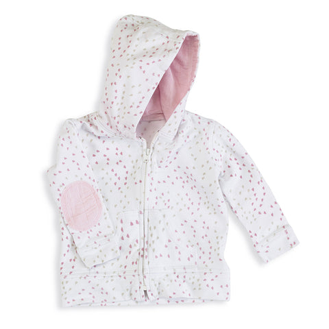 aden + anais Lovely Mini Hearts Hoodie with elbow patches and lined hoodie