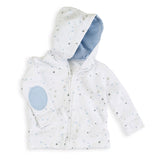 aden + anais Night Sky Starburst Hoodie with blue elbow patches